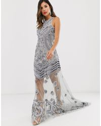 A Star Is Born High Neck Embellished Maxi Dress - Metallic