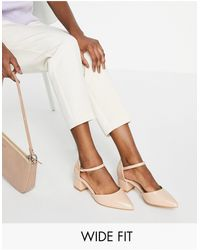 Truffle Collection Wide fit - chaussures à talon carré mi-haut - beige - Multicolore