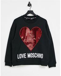 Love Moschino - Черный Свитшот С Красным Блестящим Логотипом - Lyst