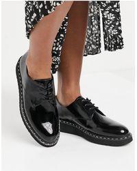 ALDO Zapatos Oxford negros con cordones y suela gruesa