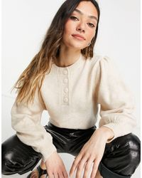 ASOS Sweater With Button Placket - Multicolor