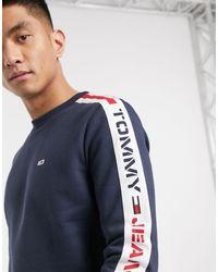 Tommy Hilfiger Slim-fit Sweatshirt Met Logo, Ronde Hals En Bies Op - Blauw