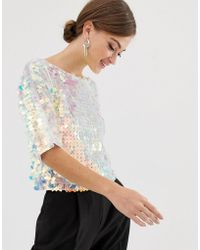 ASOS T-shirt With All Over Square Sequin - Blue