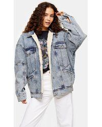TOPSHOP Veste en jean oversize à doublure en imitation peau - Bleu