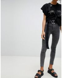 Cheap Monday - High Waisted Washed Black Super Skinny Jean - Lyst