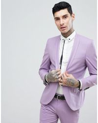 Noose And Monkey - Wedding Super Skinny Suit Jacket In Lilac - Lyst