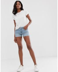 Mango - Turnup Hem Denim Shorts In Light Blue - Lyst