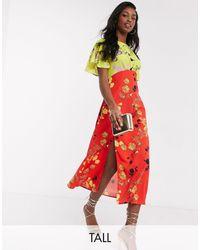 John Zack Разноцветное Платье Мидакси С Цветочным Принтом -мульти - Красный