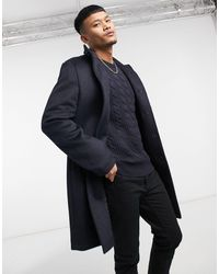 ASOS Wool Mix Overcoat With Funnel Neck - Blue