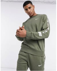 Nike Repeat Pack Logo Taping Crew Neck Sweat - Green