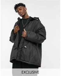 Collusion Coach Jacket With Duffle Details - Black