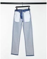 Calvin Klein - EST 1978 - Jeans dritti con effetto al rovescio blu - Lyst