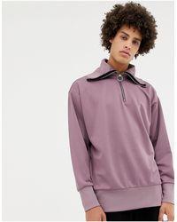 Noak Half-zip Funnel Neck Sweatshirt - Purple