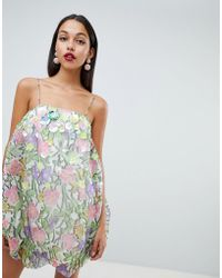 ASOS DESIGN - Organza Print Puffball Dress With 3d Embellished Flowers - Lyst