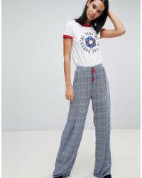 Pepe Jeans - Samantha Printed Wide Leg Pants - Lyst