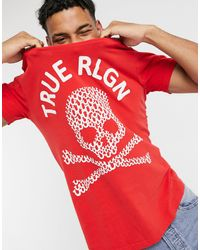 True Religion Camiseta con cuello redondo y estampado - Rojo
