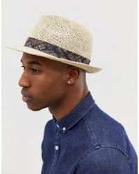 ASOS Straw Pork Pie In Ecru With Vintage Inspired Printed Band - White