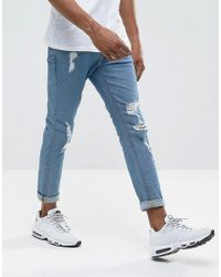 ASOS - Skinny Jeans In Mid Wash With Heavy Rips - Lyst