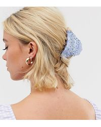 Glamorous Exclusive Light Blue Encrusted Hair Claw - Brown