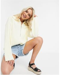 ASOS Oversized Sweater With Zip Front Detail And Open Collar - Natural
