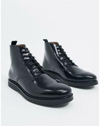 H by Hudson Черные Кожаные Ботинки -черный Цвет