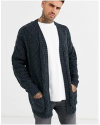 ASOS Heavyweight Cable Knit Cardigan - Gray