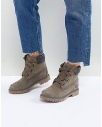 Timberland - Convenience Canteen Khaki Flat Leather Ankle Boots - Lyst