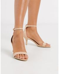 Glamorous Blush Barely There Kitten Heeled Sandals-pink - Natural