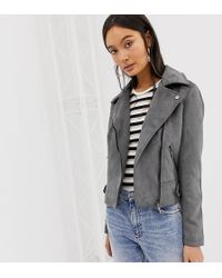 14c3f75f2d1e7 New Look Faux Suede Biker Jacket in Gray - Lyst