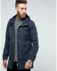Bellfield Two Way Zip Parka With Drawstring Hood - Blue