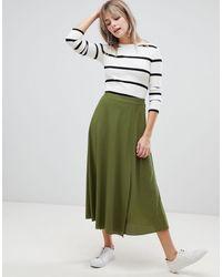 ASOS Midi Wrap Skirt In Rib - Green