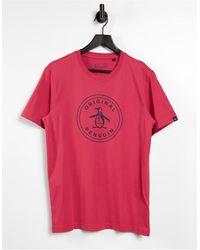 Original Penguin – T-Shirt mit Logo - Rot