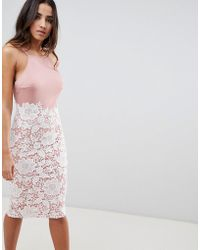 Girl In Mind - Lace Low Back Midi Dress - Lyst