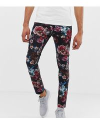 ASOS Tall Super Skinny Trousers In Floral Print - Black