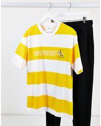 CALVIN KLEIN JEANS EST. 1978 Striped Logo T-shirt - White