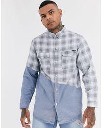 Liquor N Poker Denim Shirt With Check Splice - Blue