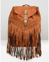 Missguided Western Fringed Backpack - Brown