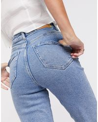 Stradivarius – Mom-Jeans mit Stretch - Blau