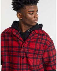 AllSaints Camisa a cuadros negros y rojos