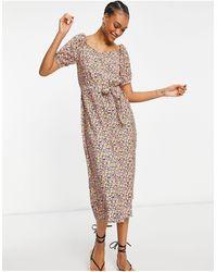 Vero Moda Платье Макси С Вырезом Сердечком И Цветочным Принтом -многоцветный