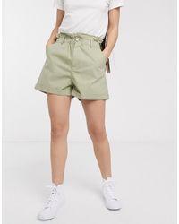 ASOS Short casual à taille haute froncée - Vert