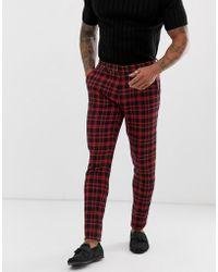 ASOS Super Skinny Suit Pants In Red Tartan Check