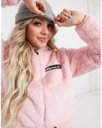 Ellesse Faux Fur Cropped Hooded Jacket - Pink