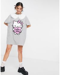 New Girl Order X Hello Kitty Oversized T-shirt Dress With Contrast Vintage Collar - Grey