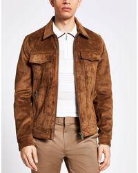 River Island - Светло-коричневая Куртка Из Искусственной Замши На Молнии -коричневый Цвет - Lyst