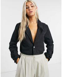 Weekday Verdin Organic Cotton Pinstripe Cropped Boxy Denim Jacket - Black