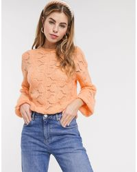 ASOS Pointelle Stitch Fluffy Jumper-pink - Orange