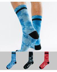 Globe Tie Dye Socks With Logo 3 Pack - Blue
