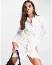 Pimkie Poplin Shirt Dress With Tie Waist - White