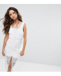 Love Triangle - Lace Midi Dress With Center Split - Lyst